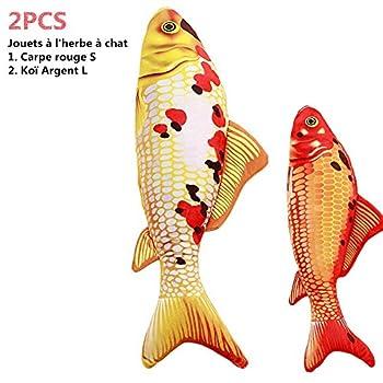 Reefa 2PCS Jouets à L'herbe à Chat Cataire/Catnip en Forme de Poisson-Carpe Rouge S:6.27Pouces+Koï Argent L:11.7Pouces