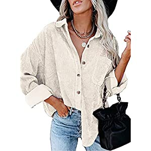Women's Corduroy Shirts Casual Long Sleeve Button-Down Blouses Top with Pockets