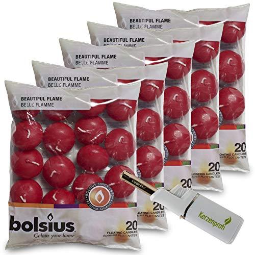DecoLite: 100 Schwimmkerzen von Bolsius mit 4,5h Brenndauer & 1 Kerzenprofi Stabfeuerzeug - (Altrot)