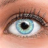 GLAMLENS lentillas de colores azules Jasmine Light Blue + contenedor. 1 par (2 piezas) - 90 Días - Sin Graduación - 0.00 dioptrías - blandos - Lentes de contacto azul de hidrogel de silicona