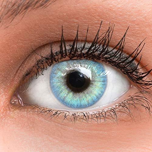 GLAMLENS Jasmine Light Blue Blau + Behälter | Sehr stark deckende natürliche blaue Kontaktlinsen farbig | farbige Monatslinsen aus Silikon Hydrogel | 1 Paar (2 Stück) | DIA 14.00 | ohne Stärke
