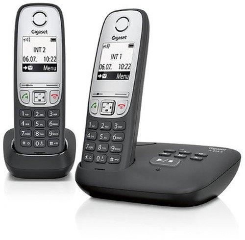 Gigaset A415A Duo 2 schnurlose Telefone mit Anrufbeantworter (DECT Telefone mit Freisprechfunktion, Grafik Display und leichter Bedienung) schwarz