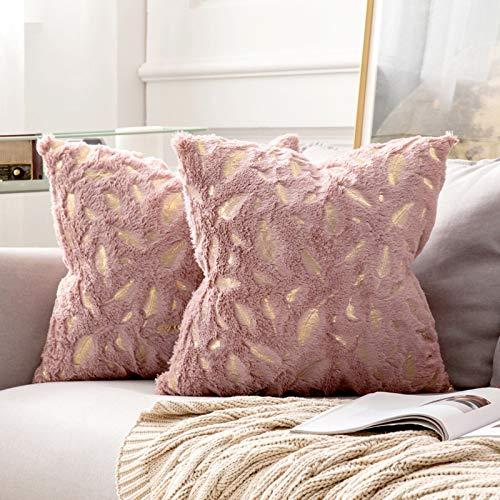 MIULEE 2er Set Bronzing Feder Kissenbezug Quaste Kissenhülle Dekorative Kurzes Haar Dekokissen mit Reißverschluss Sofa Schlafzimmer 18 x 18 Inch 45 x 45 cm Lederpuder