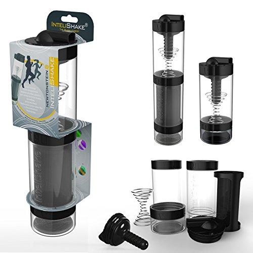 Intelishake - Multi-Compartiments à Puce protéine/entraînement/agitateur jus Bouteille (2 x 500ml) avec de l'eau du Filtre de Carbone pour Le Sport, l'exercice et la Salle de Gym - forêt Noire