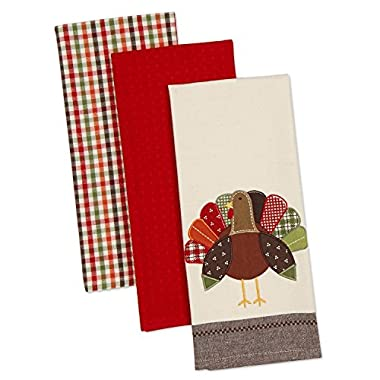 DII Cotton Thanksgiving Holiday Dish Towels, 18x28  Set of 3, Decorative Oversized Embroidered Kitchen Towels, Perfect Home and Kitchen Gift-Turkey