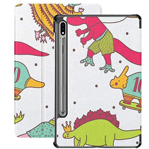 Funda para Galaxy Tab S7 Plus con Soporte para bolígrafo S Dinosaurs Party Cute Set Childrens Book Funda de Piel sintética para Samsung Galaxy Tab S7 Plus 12,4 Pulgadas 2020, Funda para Galaxy Tab S7