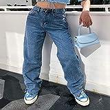 Pantalones Jeans Boyfriend Fit Baggy Jeans Mujer Cintura Alta Split Foot Cargo Pantalones Washed Classic Long Straight Leg Jean New S Navy