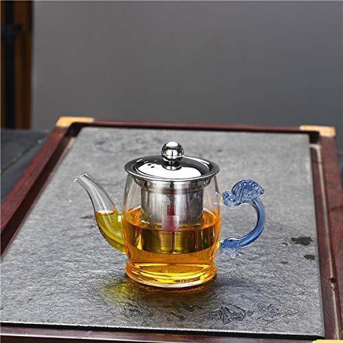 XYSQWZ Set da tè Teiere Esotiche Vetro Glass_400ml Vaso in Rete d'Acciaio Filtro Trasparente in Vetro per Uso Domestico Bollito
