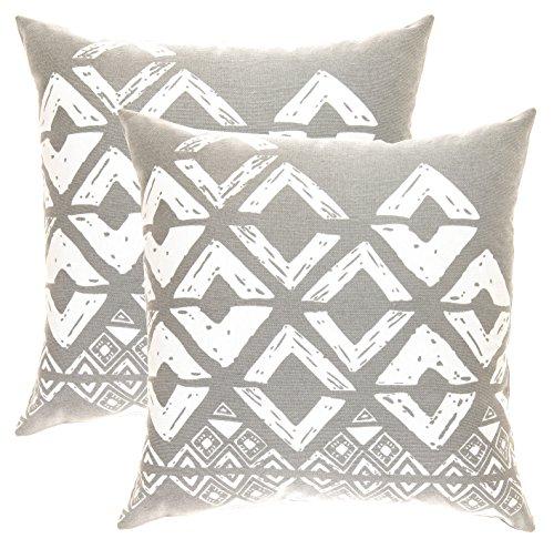 TreeWool - Pack de 2 - Fundas de cojín cuadradas con diseño geométrico en Lona de algodón (Gris y Blanco; 45 x 45 cm)