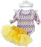 Aeromdale Conjunto de 3 piezas de ropa de Pascua para bebé y niñas de manga larga con volantes y diseño de huevo de Pascua