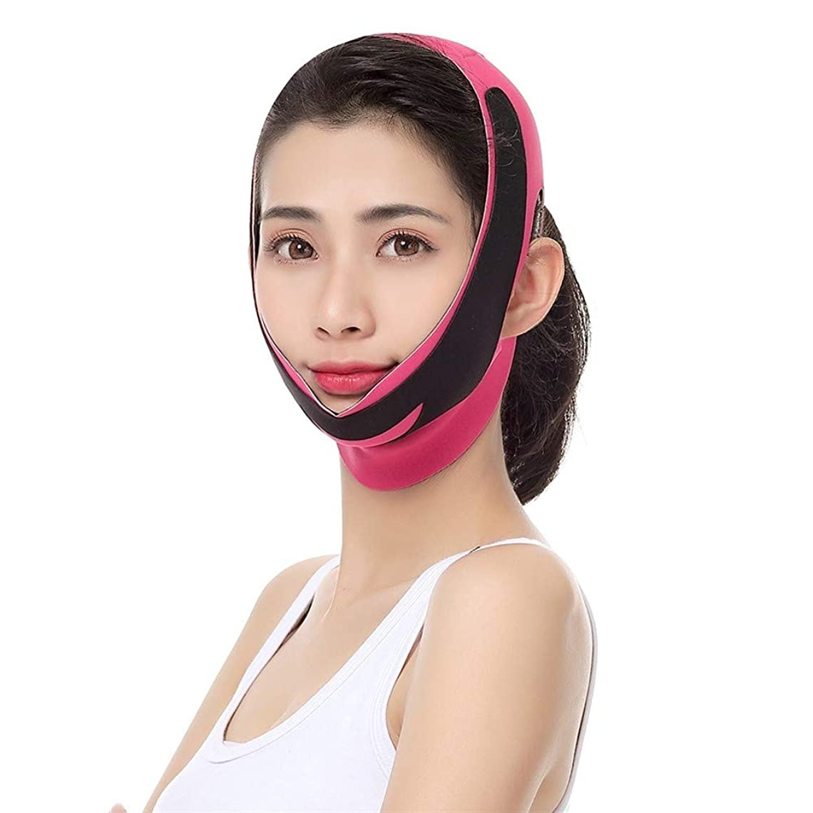知覚するタイプ刈り取る薄い顔ベルト、フェイスリフティング包帯通気性と軽二重あご包帯?フェイシャルリフティングファーミングアンチリンクルスリープVフェイスステッカー (Color : A)