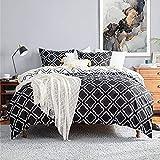 Bedsure Bettwäsche 220X200 Mikrofaser 3 teilig - schwarz Bettbezug Set mit Gitter Muster, weiche Flauschige Bettbezüge mit Reißverschluss und 2 mal 80x80cm Kissenbezug