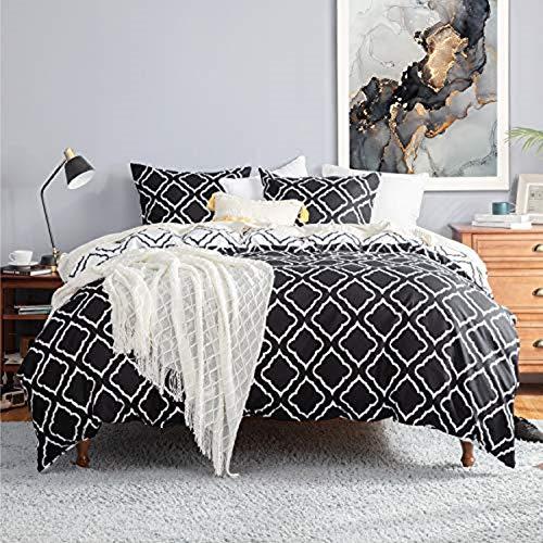 Bedsure Bettwäsche 135X200 Mikrofaser 2 teilig - schwarz Bettbezug Set mit Gitter Muster, weiche Flauschige Bettbezüge mit Reißverschluss und 1 mal 80x80cm Kissenbezug
