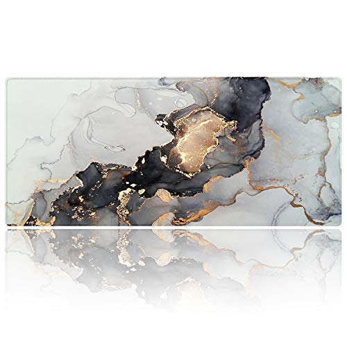 Extended Gaming Mouse Pad (35.4x15.7 inch 3mm Thick), iDonzon Soft Cute Extra Large XXL Waterproof Desk Mouse Keyboard Mat with Non-Slip Rubber Base & Stitched Edges, for Working/Game, Glitter Marble