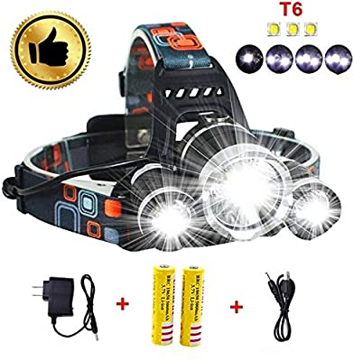 Best Led Headlamp Flashlight 10000 LM - New 2019 Bright Headlight Hard Hat Light Head Lamp Rechargeable Helmetlight with Improved CREE Led Waterproof 4 Modes for Camping Outdoor Security Light(Silver)