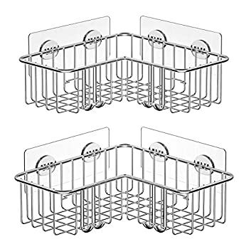 SMARTAKE 2-Pack Corner Shower Caddy Adhesive Bath Shelf with Hooks SUS304 Stainless Steel Storage Organizer for Bathroom Toilet Kitchen and Dorm Only for 90 Degrees Right Angle Silver