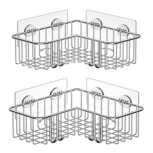 SMARTAKE 2Pack Corner Shower Caddy Adhesive Bath Shelf with Hooks SUS304 Stainless Steel Storage Organizer for Bathroom Toilet Kitchen and Dorm Only for 90 Degrees Right Angle Silver
