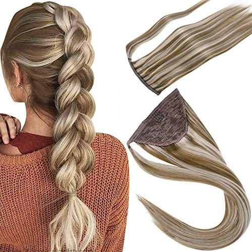 LaaVoo 18 Pouce/45cm Instant Ponytail Cheveux Humain Hair Couleur Du Piano Light Brown Highlighted Light Blonde #P8/24 Queue de Cheval Clip Easy Fit 8