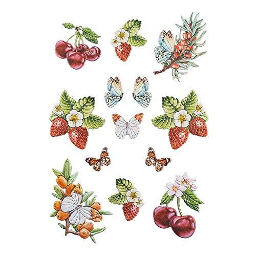Ideen mit Herz Stickerbogen 3-D Relief-Sticker   Aufkleber   Hochwertig geprägt mit 3-D-Effekt   Din A4 Bogen mit verschiedenen Motiven (Beerenvielfalt 03)