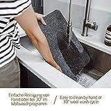 Miqio® Design Filz Tischset abwaschbar   Mit Marken Echtleder Label   18er Set - 6 Platzsets abwaschbar, Glasuntersetzer, Bestecktaschen   dunkel grau anthrazit   Filzmatte Platzdeckchen abwischbar - 3
