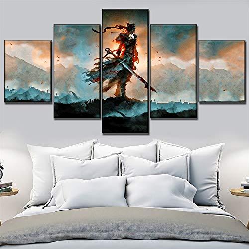 Shentop Leinwanddruck Modulare Bild Leinwanddruck Wandkunst Poster Wohnkultur Wohnzimmer Wand 5 Stücke Hellblade Senuas Bieten Malerei-Rahmen