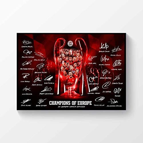 FC Bayern München Champions League Gewinner 2019-2020 Signiertes Poster A4