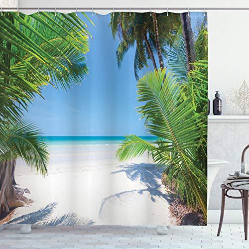 ABAKUHAUS Ozean Duschvorhang, Palm Leaf tropischen Strand, mit 12 Ringe Set Wasserdicht Stielvoll Modern Farbfest & Schimmel Resistent, 175x180 cm, Himmelblau Weiß Grün