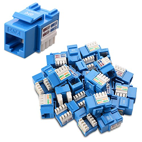 Cable Matters UL Listed 25-Pack RJ45 Keystone Jack in Blue with Keystone Punch-Down Stand