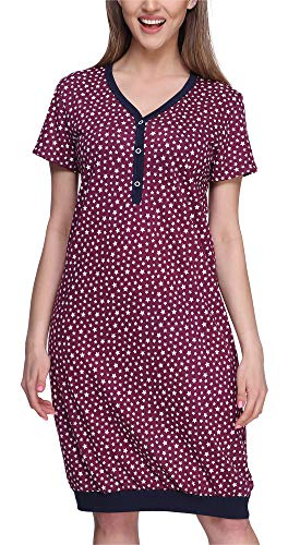 Merry Style Damen Nachthemd MS10-183 (Weinrot/Sterne, XL)