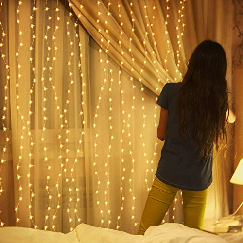LED Fairy String Lights, Warm White 300 LED, 9.8x9.8 Feet, Bedroom Wall Hanging Light, Home Decor Lighting, Lighted Bed Room Curtain, Party Wedding Christmas Decorations Backdrop, Indoor Outdoor