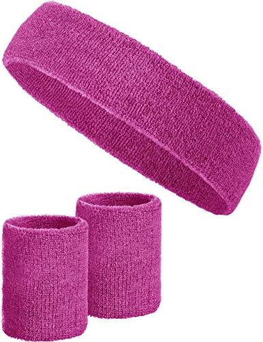 Balinco 3-teiliges Schweißband-Set mit 2X Schweißbändern für die Handgelenke + 1x Stirnband für Damen & Herren (Pink)