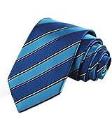KissTies Blue Ties for Men Striped Necktie + Gift Box