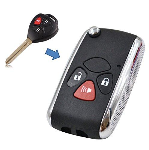 KEMANI 3 Button Modified Flip Folding Remote Key Shell Case Refit For Toyota Scion tC xB Matrix Yaris Venza Fob Replacement Uncut