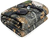 SJC Multifunctional Heated Throw Blanket 55'x 40' Washable Travel Electric Blanket with 3-Heat Setting Time-Off Controller(Camouflage with Gray Fleece Reverse