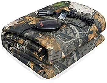 SJC Multifunctional Heated Throw Blanket 55 x 40  Washable Travel Electric Blanket with 3-Heat Setting Time-Off Controller(Camouflage with Gray Fleece Reverse