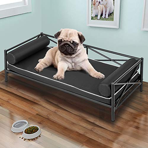 LOVSHARE Metal Frame Pet Bed 34.2X19.4X15.7 Inches Metal Dog Bed Animal Lounge Detachable Bed Oxford Cloth Cushion for Dogs Pet Bed Metal Frame Dog Sofa Furniture for Dogs Bottom Hanging Design