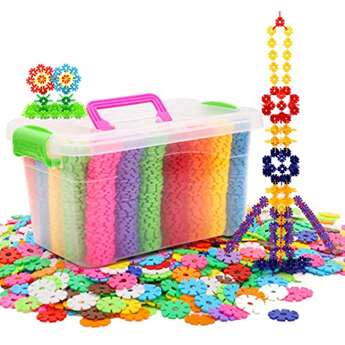 LA HAUTE Kids Building Blocks 500Pcs Plastics Snowflakes Construction Toys Plastic Disc Set Educational Toys with Storage Box