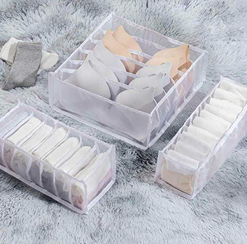 Skyinbags 3Pcs-Drawer Divider Closet Underwear Socks Bra Organizer Container Storage Box,White