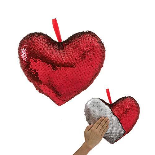 Cojín de Lentejuelas Rojo de corazón romántico para decoración de 30x25 Iris - LOLAhome