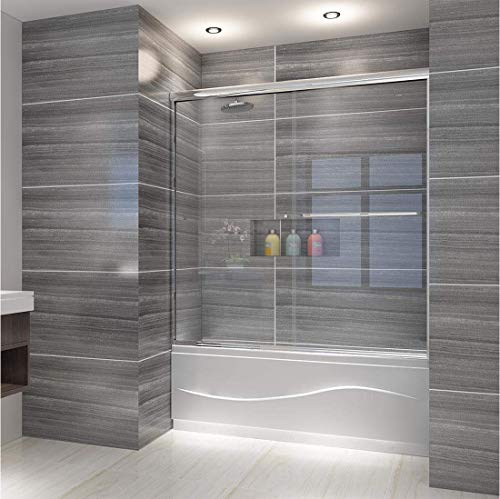 ELEGANT Semi-Frameless Bypass Double Sliding Tub Shower Door, 60 in. W x 62 in. H Bathtub Sliding Door, 1/4 inch Clear Glass Panel, 1.5 in. Width Adjustment, Chrome Finish