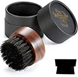 BFWood Round boar hair beard brush with case