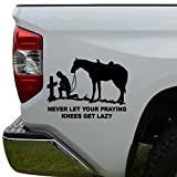 Rosie Decals Cowboy Horse Praying Cross Christian Die Cut Vinyl Decal Sticker For Car Truck Motorcycle Window Bumper Wall Decor Size- [8 inch/20 cm] Wide Color- Gloss Black