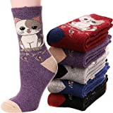 Womens Wool Socks Boot Warm Thick Comfy Crew Thermal Heavy Work Soft Winter Ladies Long Cold Socks 5 Pairs(Cat D)