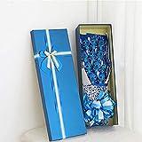 Cartoon Stitch Soap flower peluche jouet, bouquet pour anniversaire valentine cadeau de Noël bouquet de jouets avec boîte 58x25x12cm bleu