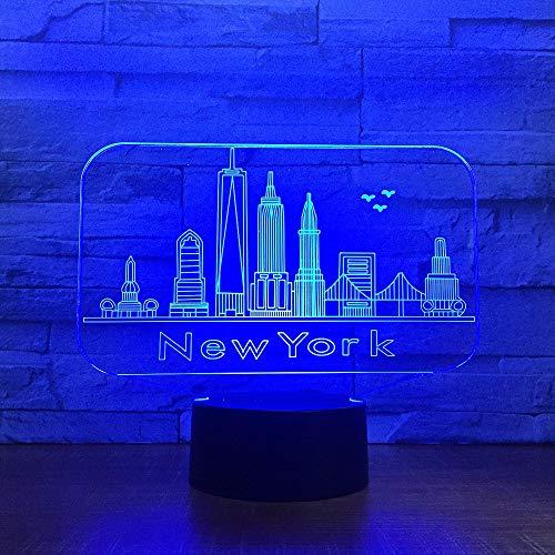 Vitila Lampe De Table De Chevet New Light De New York City 3D Led Illusion Light Night Light Changement Coloré, Cadeau Créatif, Base Noire: Colorful Touch + Télécommande