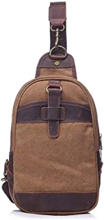 Well-Made Retro Men's Bag Canvas Chest Bag Shoulder Crossbody Outdoor Large Capacity 35 * 7 * H18CM Dynamic (Color : Brown)