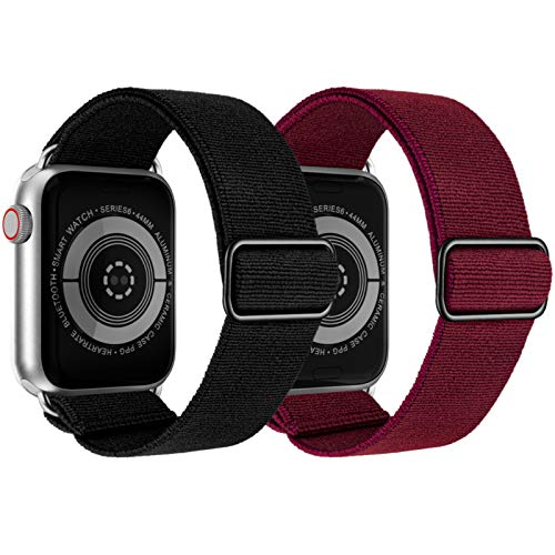 KRISVI Stretchy Watch Bands Compatible with Apple Watch Bands 38mm 40mm, Adjustable Elastic Apple Watch Bands Women Compatible with iWatch Series 6 5 4 3 2 1 SE(Black & Wine Red 38/40)