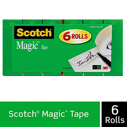 Scotch Brand Magic Tape, 6 Rolls, Numerous Applications, Cuts Cleanly, Engineered for Office and Home Use, 3/4 x 1000 Inches, Boxed (810K6)