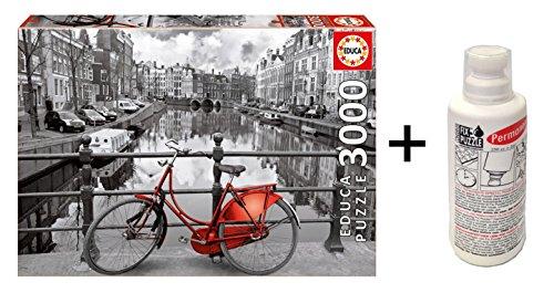 Outletdelocio Pack Puzzle Educa 16018. Amsterdam (Holanda). 3000 Piezas + Pegamento Puzzle. 63378/20765