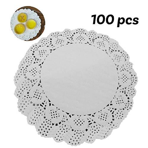 JBNS 100 Stück Papier Deckchen Einweg-weiße Spitze Dekorative Deckchen Runde Dekorpapier Platzdeckchen Masse Für Geschirr, Dekoration Kuchen Verpackung (7,5 Inch)